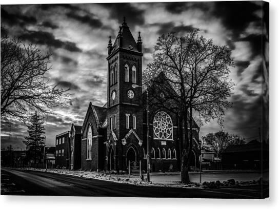 St Pauls United Church Milton  Black And White Canvas Print