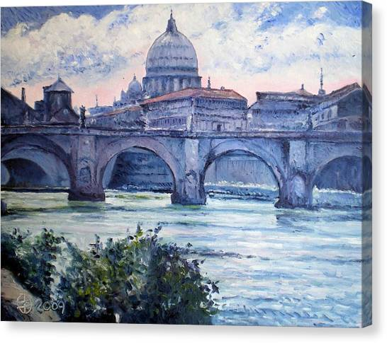 St Peter And Ponte San Angelo Rome Italy 2009 Canvas Print by Enver Larney
