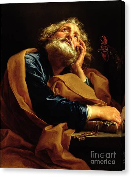 Old Testament Canvas Print - St Peter by Pompeo Girolamo Batoni