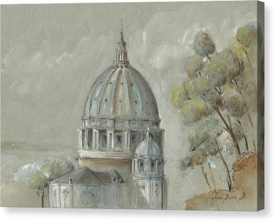 Roman Art Canvas Print - St Peter's Basilica Rome by Juan Bosco