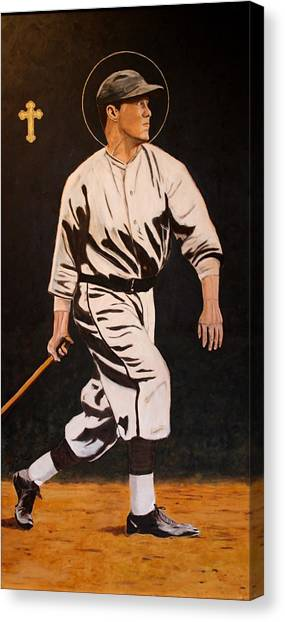 St. Sebastian Patron Of Athletes Canvas Print by Ralph LeCompte