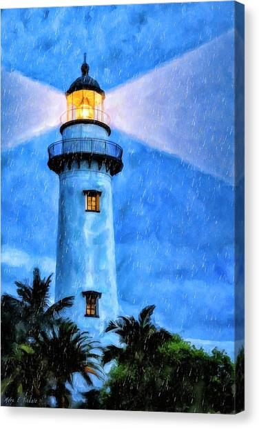 Canvas Print featuring the painting Lights On For You At St. Simons by Mark Tisdale