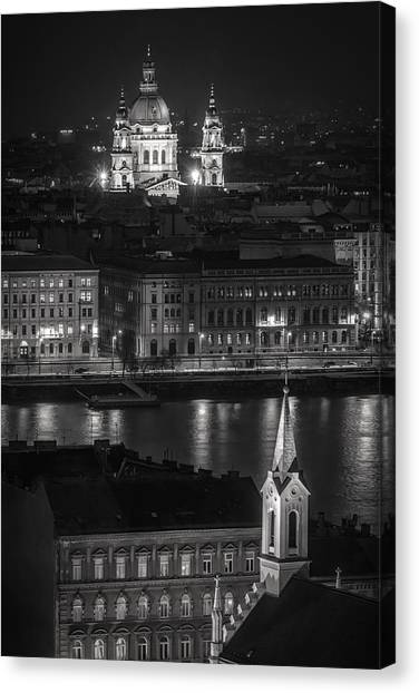 Neoclassical Art Canvas Print - St Stephens Basilica Night Bw by Joan Carroll
