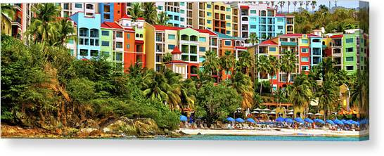 Carribbean Canvas Print - St. Thomas Panorama by Mitch Cat