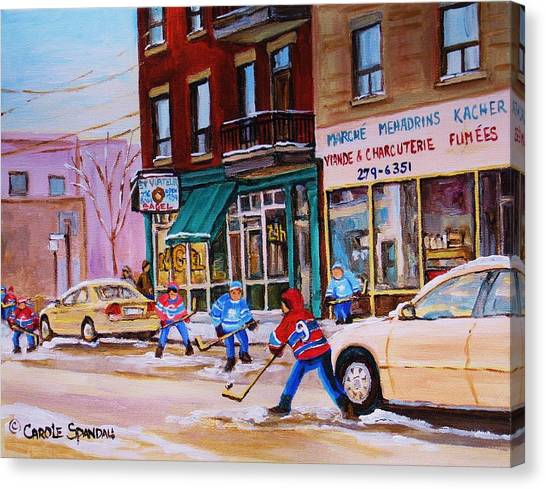 The Main Montreal Canvas Print - St. Viateur Bagel With Boys Playing Hockey by Carole Spandau