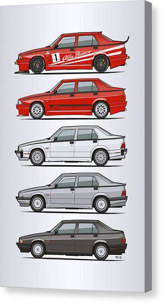 Planet Canvas Print - Stack Of Alfa Romeo 75 Tipo 161, 162b Milanos  by Monkey Crisis On Mars
