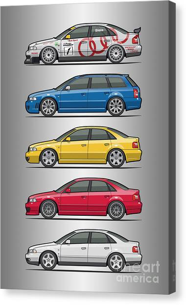 Touring Canvas Print - Stack Of Audi A4 B5 Type 8d by Monkey Crisis On Mars