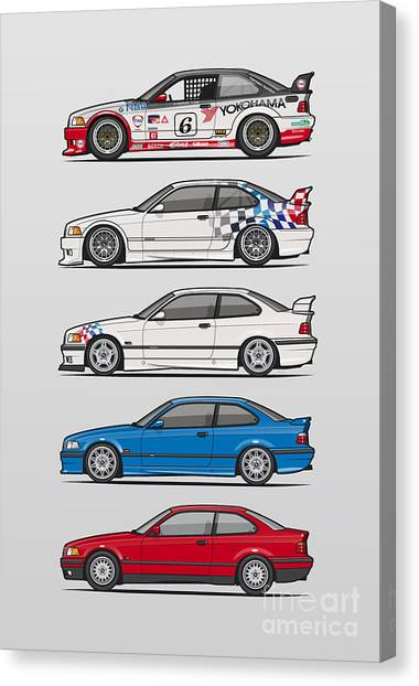 Stock Cars Canvas Print - Stack Of Bmw 3 Series E36 Coupes by Monkey Crisis On Mars