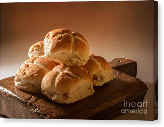 Buns Canvas Print - Stack Of Hot Cross Buns by Amanda Elwell