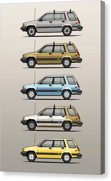Toyota Canvas Print - Stack Of Mark's Toyota Tercel Al25 Wagons by Monkey Crisis On Mars