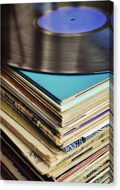 Vintage Canvas Print - Stack Of Records by Lyn Randle