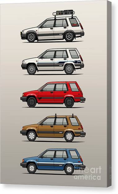 Toyota Canvas Print - Stack Of Toyota Tercel Sr5 4wd Al25 Wagons by Monkey Crisis On Mars