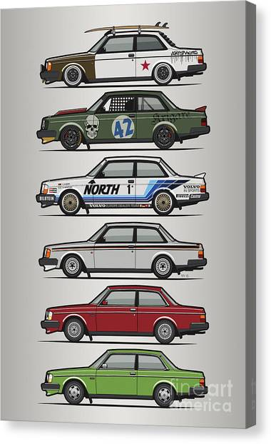 Grandpa Canvas Print - Stack Of Volvo 242 240 Series Brick Coupes by Monkey Crisis On Mars