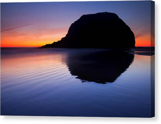 Cannon Beach Canvas Print - Stack Reflections by Mike  Dawson