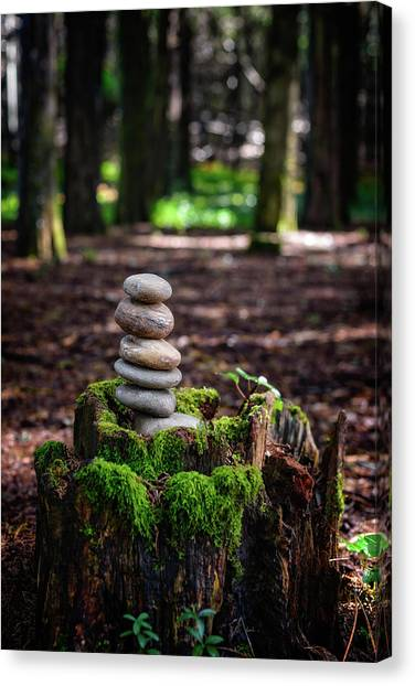 Mossy Forest Canvas Print - Stacked Stones And Fairy Tales IIi by Marco Oliveira