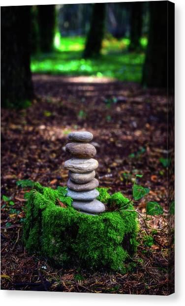 Mossy Forest Canvas Print - Stacked Stones And Fairy Tales Iv by Marco Oliveira
