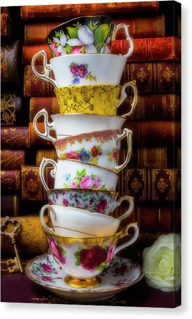 Tea Time Canvas Print - Stacked Tea Cups by Garry Gay
