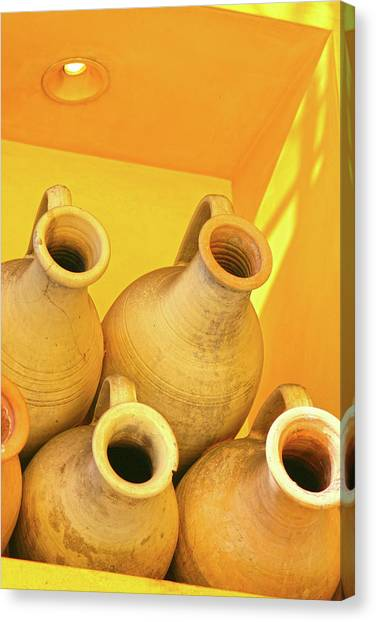 Stacked Yellow Jars Canvas Print
