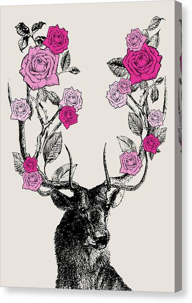 Vintage Canvas Print - Stag And Roses by Eclectic at HeART