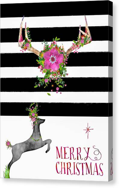 Canvas Print - Stag And Stripe Floral by Amanda Lakey