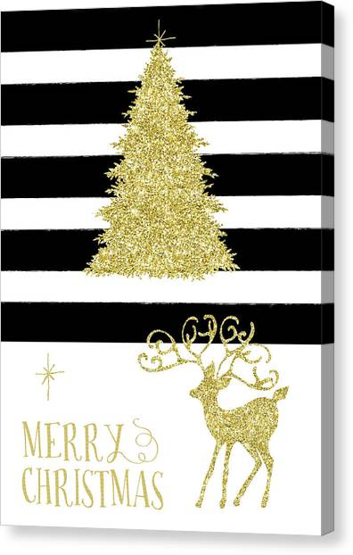 Canvas Print - Stag And Stripe Glitter by Amanda Lakey