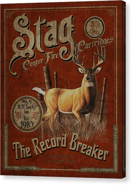 Stag Canvas Print - Stag Cartridges Sign by JQ Licensing