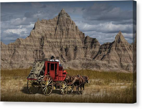 Stage Coach In The Badlands Canvas Print
