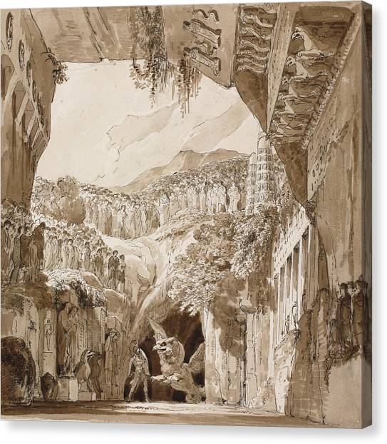 Fantasy Cave Canvas Print - Stage Design With A Man Fighting A Dragon In A Cave  by Lorenzo Quaglio