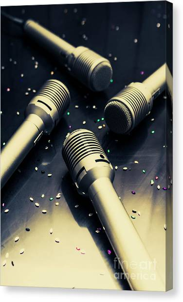 Microphones Canvas Print - Staging A Disco by Jorgo Photography - Wall Art Gallery