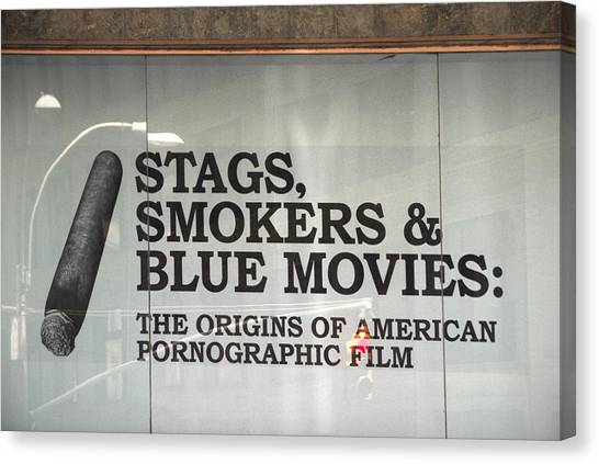 Stags Smokers And Blue Movies Canvas Print by James Zuffoletto