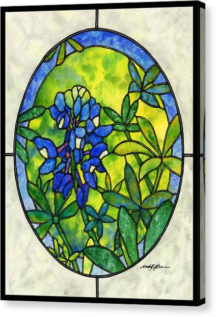 Bluebonnets Canvas Print - Stained Glass Bluebonnet by Hailey E Herrera