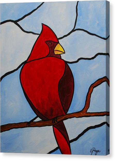 Stained Glass Cardinal Canvas Print