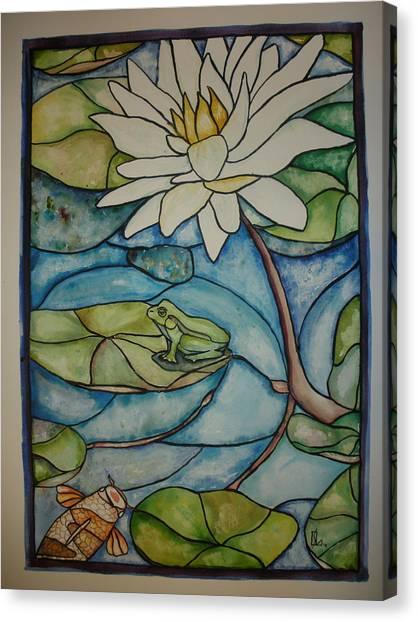 Stained Glass Frog Canvas Print