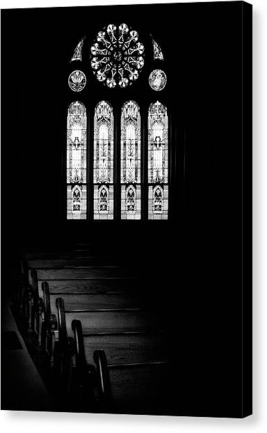 White Church Canvas Print - Stained Glass In Black And White by Tom Mc Nemar