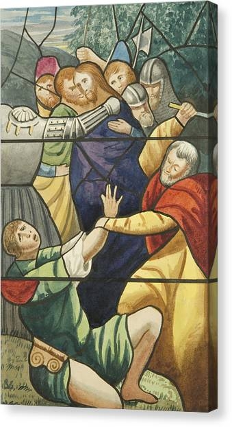 Axes Canvas Print - Stained Glass In St Mark's  The Taking Of Christ  by Joseph Manning