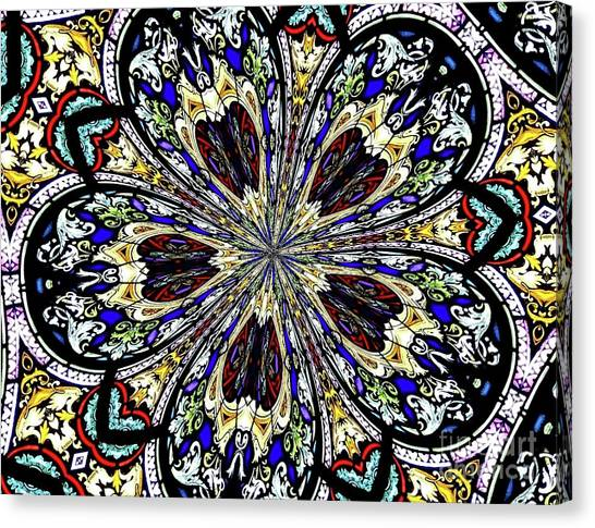 Canvas Print featuring the photograph Stained Glass Kaleidoscope 38 by Rose Santuci-Sofranko