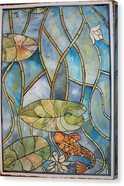 Stained Glass Koi Canvas Print