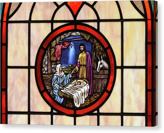 Stained Glass Nativity Window Canvas Print