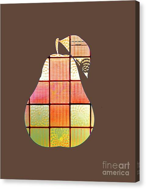 Stained Glass Pear Canvas Print