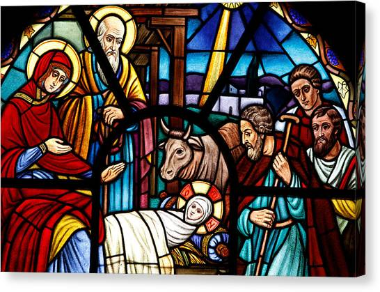 Coptic Art Canvas Print - Stained Glass Window Depicting The Nativity by American School