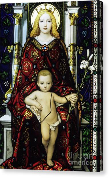 The Vatican Museum Canvas Print - Stained Glass Window Of The Madonna And Child by Sami Sarkis