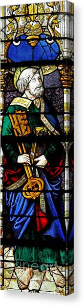 Decorative Glass Canvas Print   Stained Glass Window Showing Saint Peter By  French School