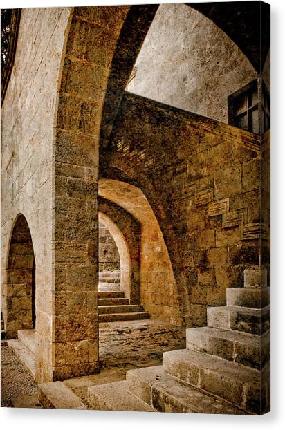 Canvas Print featuring the photograph Rhodes, Greece - Stair by Mark Forte