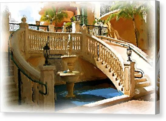 Staircase And Fountain Canvas Print by Ralph Liebstein