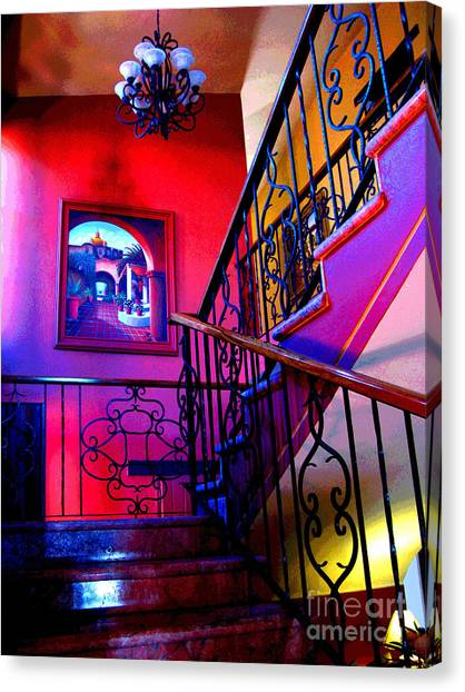 Staircase At Casa De Leyendas By Darian Day Canvas Print by Mexicolors Art Photography