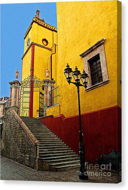 Staircase With Gate Canvas Print by Mexicolors Art Photography