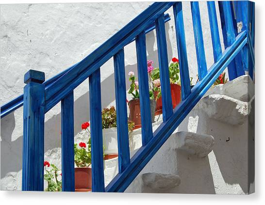 Stairs In Mykonos Canvas Print by Armand Hebert