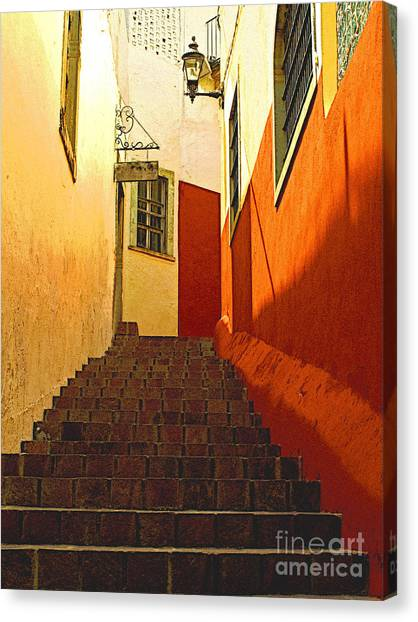 Stairway Guanajuato Canvas Print by Mexicolors Art Photography