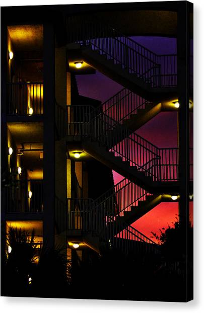 Stairway Silhouette At Sunset Canvas Print