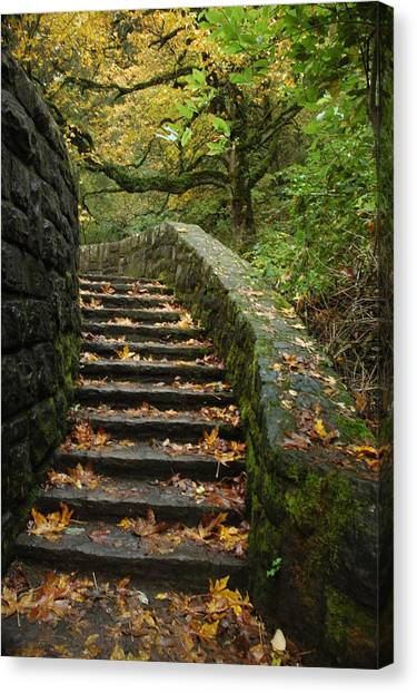 Stairway To Fall Canvas Print by Lori Mellen-Pagliaro
